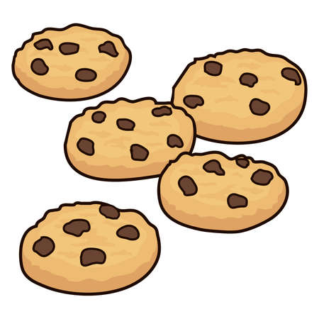 vector set of chocolate chip cookies isolated on white background. homemade biscuit choc cookie collection