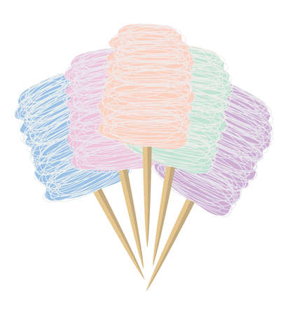 vector colorful candy cotton set isolated on white background. collection of sweet fluffy sugar clouds, flat design style.