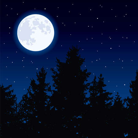 vector background with glowing moon in night sky and dark forest trees. full moon phase. eps10 illustration