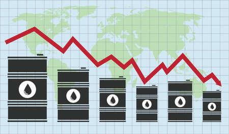 Vector ruwe olieprijs financiële grafiek met groene wereldkaart en raster op blauwe achtergrond. rode pijl toont olieprijzen op en neer handelstrend. energiemarkt platte achtergrond Stockfoto - 95690801