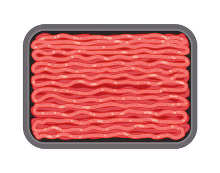Vector minced meat in plastic tray isolated on white background, ground raw beef or pork in black package. Flat graphic style