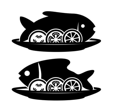 Vector cooked fish and raw vegetables on a plate with fork and knife. black and white icon of carp or bream fish with lemon fruit, tomato and cucumber vegetables. dinner food flat style background Illustration