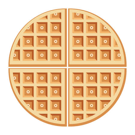 Vector breakfast waffles isolated on white background. Belgium round waffle as sweet delicious food concept.  イラスト・ベクター素材
