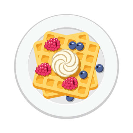 Vector belgian waffles with ice cream and colorful berries isolated on white background. Breakfast homemade waffle with cream, blueberry and raspberry as sweet dessert food.