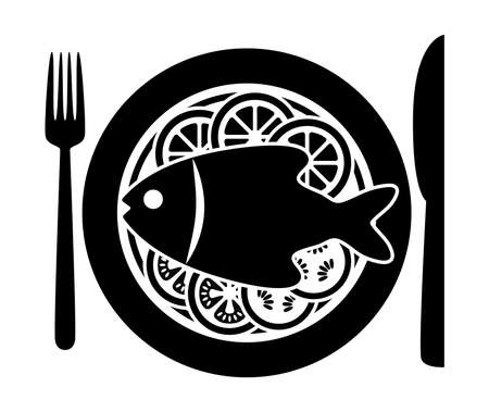 Vector cooked fish and raw vegetables on a plate with fork and knife. Black and white icon of carp or bream fish with lemon fruit, tomato and cucumber vegetables. Dinner food flat style background