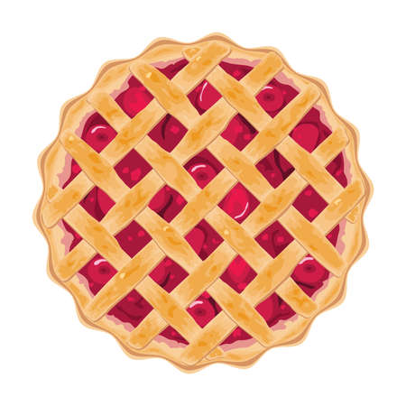 vector homemade fruit and berry pie for christmas, thanksgiving and all kinds of holidays. strawberry crostata tart isolated on white background. top view of baked cake