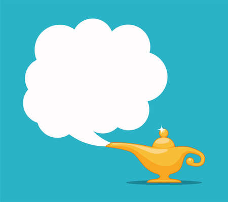 vector genie magic aladdin lamp with white smoke as a copy-space. alladin golden lantern on blue background