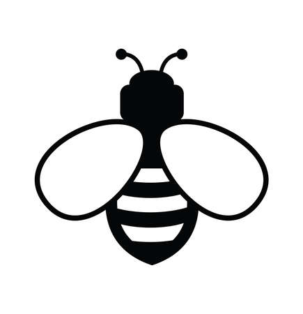 vector bee icon isolated on white background.flat bumblebee logo  cartoon. honey bee simple illustration Illustration