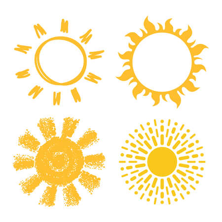 vector icons of suns isolated on white background. collection of yellow sun symbols, flat style  イラスト・ベクター素材