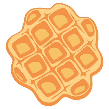 vector breakfast waffle isolated on white background. abstract belgium round waffle as sweet delicious food concept. top view