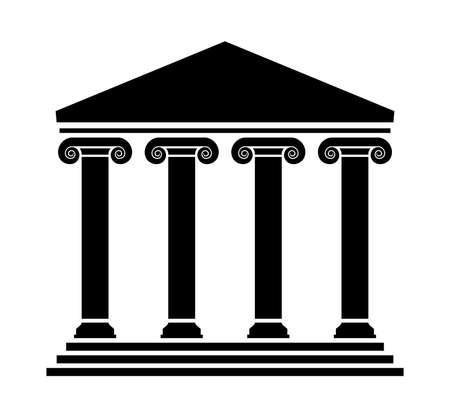vettore architettura greca antica con colonne. tempio romano in bianco e nero con pilastri. logo del partenone greco o dell'acropoli Logo
