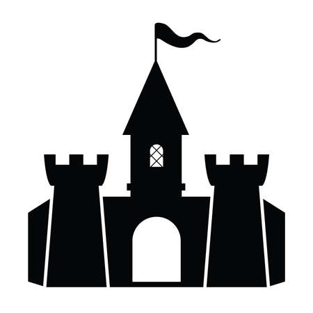 vector fortress icon isolated on white background. fairytale castle black symbol. medieval castle building Illustration