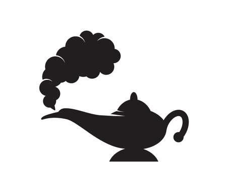vector lámpara de aladdin mágico genio blanco y negro con humo negro como espacio de copia. Icono de linterna de Alladin sobre fondo blanco. Ilustración de vector