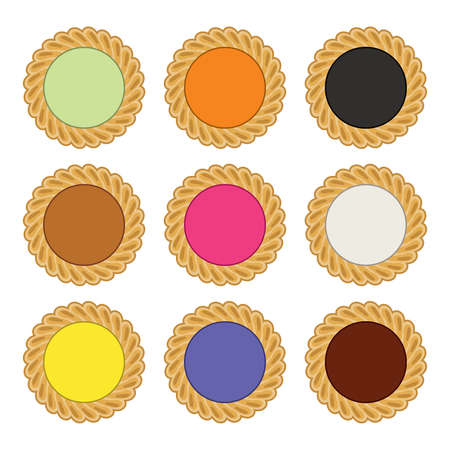 vector jam and chocolate pie set. fruit tart with tasty berry jam filling isolated on white background. pie icons Vectores