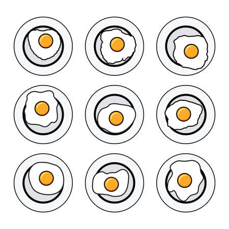 vector set of delicious fried eggs on plates for breakfast. flat egg icons collection