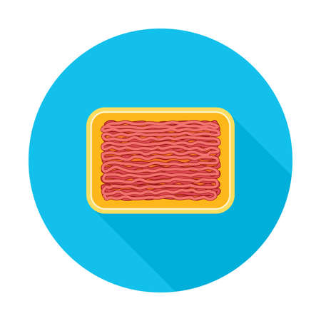 vector minced meat in yellow plastic tray. ground raw beef or pork in a package. flat graphic style. minced meat round icon isolated on white background Çizim