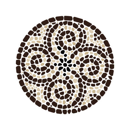 vector abstract colorful mosaic round pattern. pebble stone mosaic circle background, brown colors