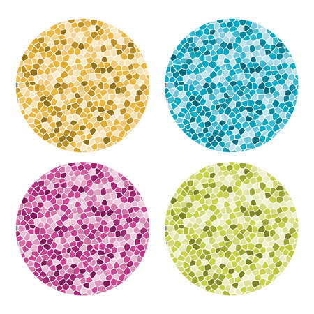 vector set of abstract colorful mosaic round patterns. colorful stone mosaic collection isolated on white background