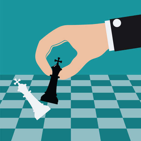 vector illustration of playing chess game and defeating the king. business concept of strategy success. hand holding king chess piece