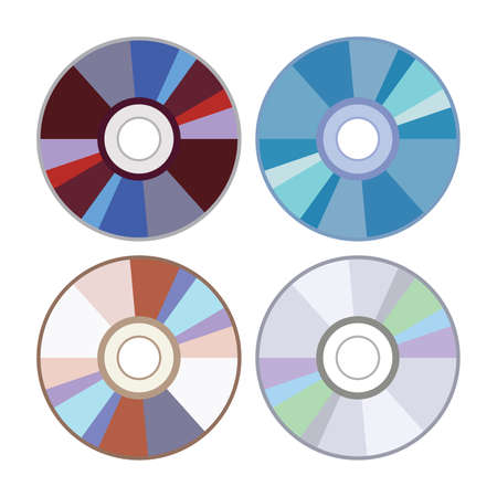 vector dvd or cd disc icons isolated on white background. set of compact discs for data storage. music or video record disks