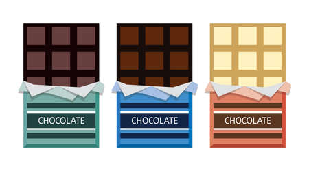 vector collection of opened dark chocolate, milk chocolate and white chocolate bars with a piece of chocolate bar in foil wrapper eps10 illustration Illustration