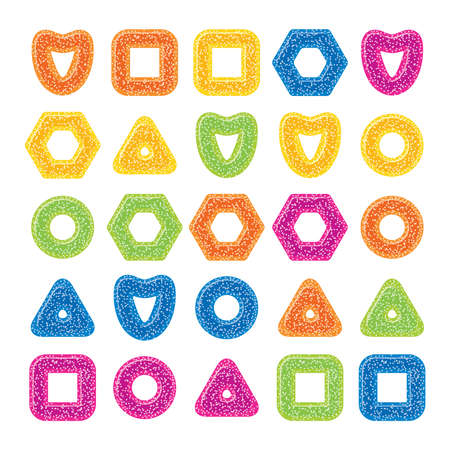 vector gelatin candies assortment of various shapes isolated on white background. set of colorful jelly marmalade icons