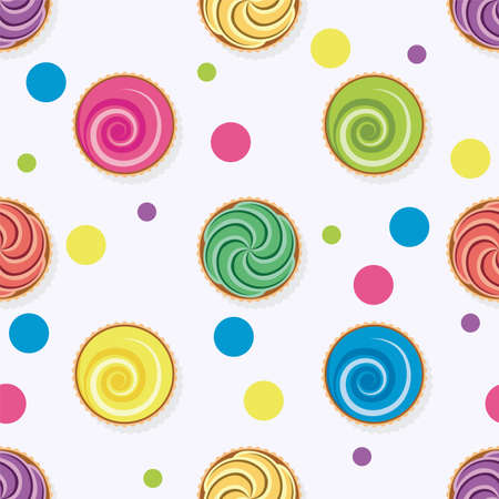 vector seamless background with colorful cupcakes. collection of dessert, birthday and fruit cupcakes. cake muffins with cream. top view