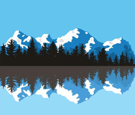 Vektor-Kiefernwald-Hintergrundmuster. abstraktes blau-weißes Panorama der Naturlandschaft mit immergrünen Nadelbäumen und Bergsilhouetten, die sich im Fluss- oder Seewasser widerspiegeln Vektorgrafik