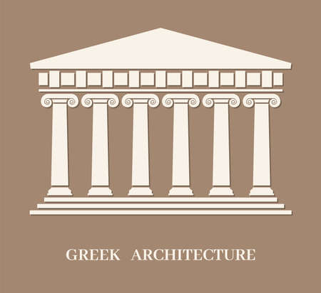 vector ancient greek architecture with columns. roman temple building with pillars. logo of greek parthenon or acropolis with greek architecture text