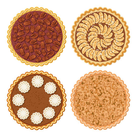 vector set of pie flat icons isolated on white background. homemade apple, crumble apple, pecan and pumpkin pies