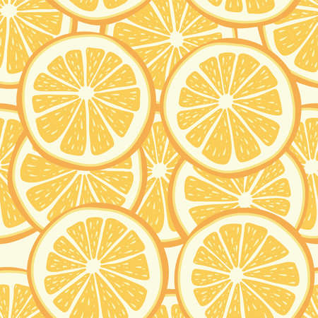 vector citrus seamless background of lemon or orange slices. juicy fruit seamless pattern  イラスト・ベクター素材