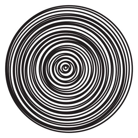 vector radial rings burst of abstract circles. black and white illustration pattern of concentric circular ripples Ilustração