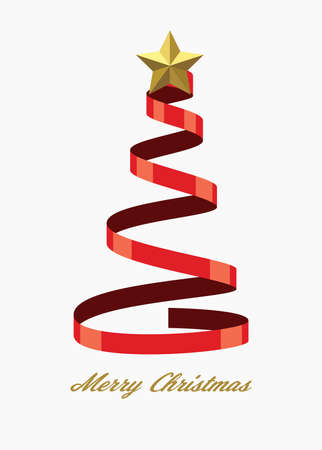 vector christmas holiday background for greeting cards with tree made of red ribbon and golden star and merry christmas text Ilustração