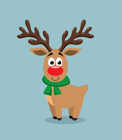 Cute cartoon of red nosed reindeer, rudolph. Illustration