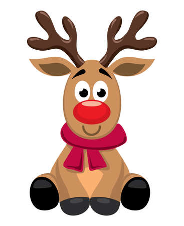 vector cute cartoon of red nosed reindeer toy, rudolph. funny character for merry christmas and new year holiday illustrations