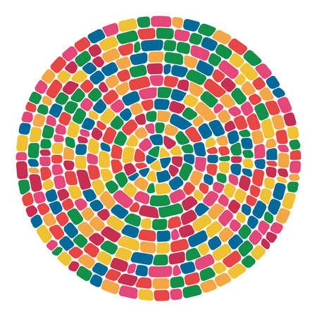 vector abstract colorful mosaic round pattern. pebble stone mosaic circle background Ilustração