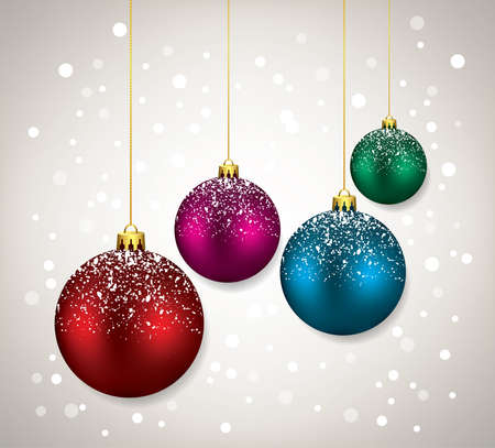 vector winter holiday illustration with christmas balls. colorful background for merry christmas card. red, pink, blue and green glass balls Imagens - 127708769