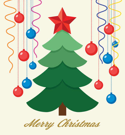 vector christmas holiday background for greeting cards with green tree, red star, christmas balls and ribbons. merry christmas text is below Ilustração