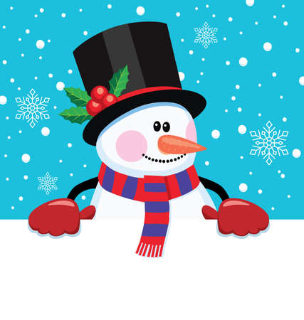 vector christmas cartoon illustration of snowman holding blank paper for your text. winter background with snow man and snowflakes