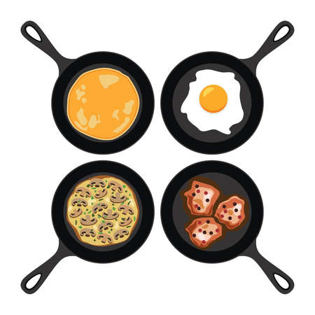 vector set of pans with pancake, fried egg, omelet with mushrooms and fried meat. collection of breakfast, dinner and supper flat icons isolated on white background Ilustração