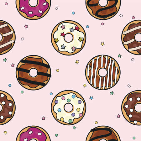 vector seamless donut background pattern. modern flat style icons of glazed colorful donuts with glaze, chocolate and sprinkles, isolated doughnuts on pink background. simple doughnut icon design Imagens - 126439771
