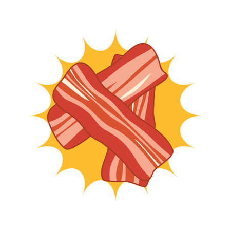 vector breakfast icon with hot bacon slices. flat design of fried ham bacon slices in oil Ilustração