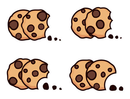 vector set of chocolate chip bitten cookies isolated on white background. symbols of homemade biscuit choc cookie with a bite and crumbs. top view of flat cookie clipart collection Imagens - 126439774