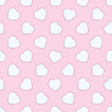 vector seamless background with hearts. love, romantic, wedding or valentine day seamless pattern. white hearts on pink background
