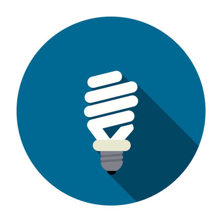 vector symbol of energy saving lamp. alternative electric light bulb icon isolated on white background. cfl fluorescent lightbulb