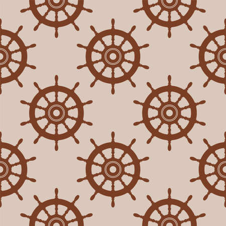 vector seamless background pattern with steering wheel of a ship, boat or yacht rudder direction concept. nautical or travel brown symbol. wooden steer wheel