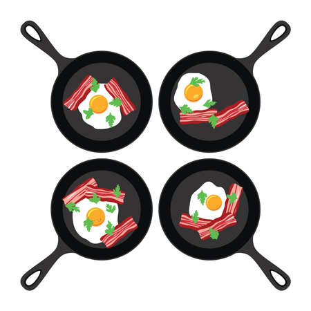 vector set of pans with fried eggs and bacon. collection of breakfast flat icons isolated on white background. fried egg, bacon and parsley symbols