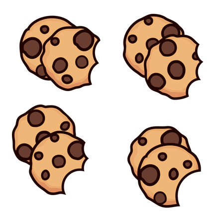 vector set of chocolate chip cookies with bite isolated on white background. homemade biscuit choc cookie symbol collection. top view of flat cookie clipart Imagens - 126439785