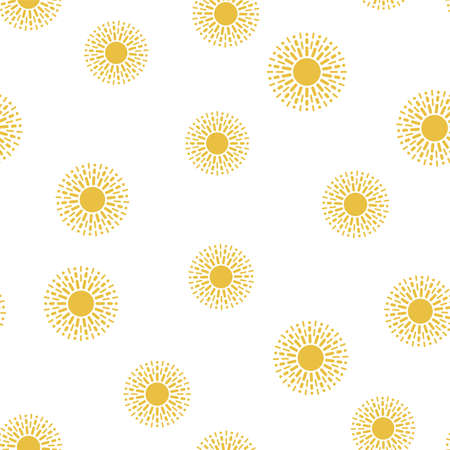 vector seamless sun pattern. abstract illustration, flat graphic style. yellow sun symbols isolated on white background