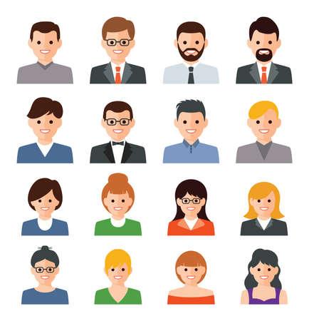 insieme di vettore delle icone della gente. illustrazione piana di uomo d'affari. simboli uomo e donna. raccolta di avatar di persone isolata su sfondo bianco Vettoriali